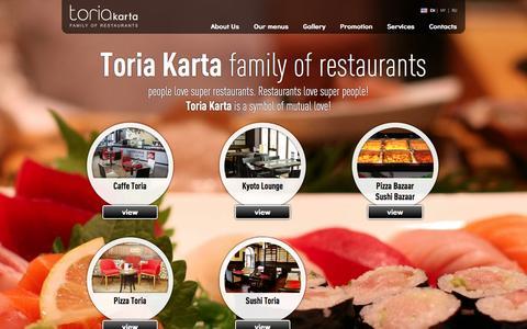 Screenshot of Home Page toria.am - Toria Karta | Family of Restaurants - captured Oct. 7, 2014