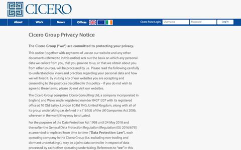 Screenshot of Privacy Page cicero-group.com - Privacy Policy | - captured July 17, 2018