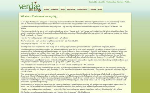 Screenshot of Testimonials Page verdaeskintherapy.com - Verdae Skin Therapy - Testimonials - captured Oct. 26, 2014