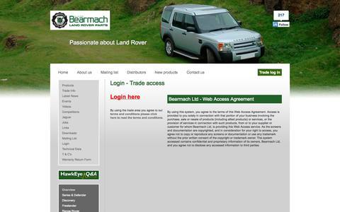 Screenshot of Login Page bearmach.com - Bearmach - captured Sept. 30, 2014