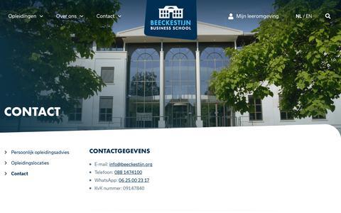 Screenshot of Contact Page beeckestijn.org - Contact   Beeckestijn Business School   Beeckestijn Business School - captured Oct. 13, 2019