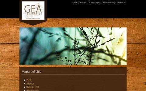 Screenshot of Site Map Page geaforestal.com - Gestión Forestal Responsable, empresa líder en certificación FSC y PEFC. - Inicio - captured July 9, 2016