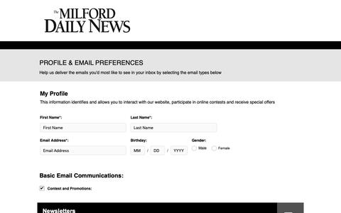 Screenshot of Signup Page milforddailynews.com - Milford Daily News - captured Oct. 18, 2018
