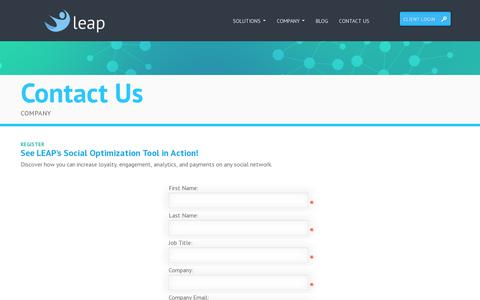 Screenshot of Contact Page leapcommerce.com - Leap Commerce - captured July 19, 2014