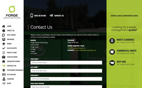 Screenshot of Contact Page forgerecycling.co.uk - Forge Recycling - Contact us - captured Oct. 14, 2017