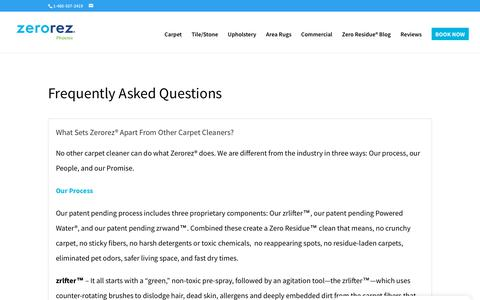 Screenshot of FAQ Page zerorezphoenix.com - FAQ - ZEROREZ® CARPET CLEANING PHOENIX - captured Sept. 20, 2018