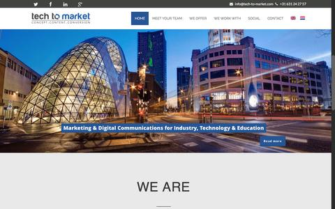 Screenshot of Home Page tech-to-market.com - online marketing consultants for high tech B2B companies - captured Feb. 23, 2016