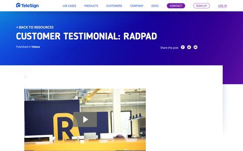Screenshot of Testimonials Page telesign.com - Customer Testimonial: RadPad | TeleSign - captured May 3, 2018