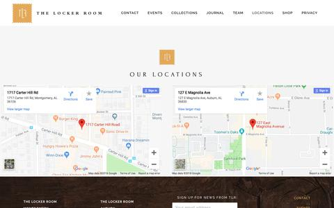 Screenshot of Locations Page tlrclothiers.com - The Locker Room     Our Locations - captured Sept. 21, 2018