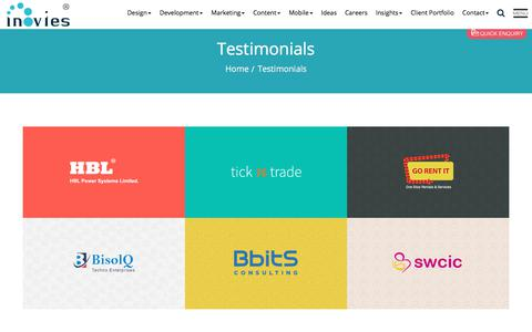Screenshot of Testimonials Page inovies.com - website design development company reviews in Hyderabad India - captured Oct. 15, 2017