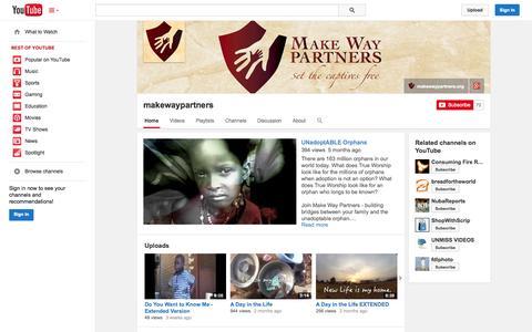 Screenshot of YouTube Page youtube.com - makewaypartners  - YouTube - captured Oct. 23, 2014