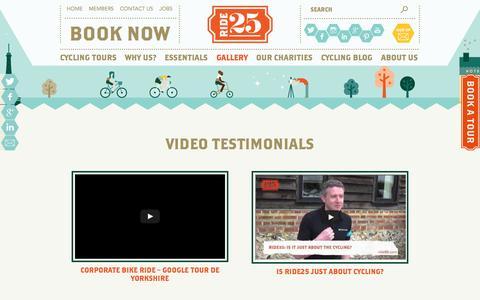 Screenshot of Testimonials Page ride25.com - Video Testimonials » Ride25 - captured Sept. 24, 2014