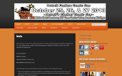 Screenshot of Press Page detroitfanfare.com - Detroit Fanfare Comic Con » Media - captured Oct. 5, 2014