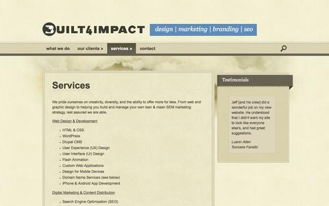 Screenshot of Services Page built4impact.com - Services | Built For Impact - captured Feb. 8, 2016