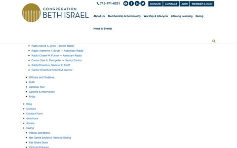 Screenshot of Site Map Page beth-israel.org - Sitemap - Congregation Beth IsraelCongregation Beth Israel - captured Sept. 29, 2018