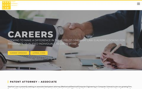 Screenshot of Jobs Page gearhartlaw.com - Careers — Patent, Trademark and Copyright Attorney | Gearhart Law - captured Sept. 27, 2018