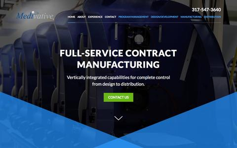 Screenshot of Home Page medivative.com - Home | Full-Service Contract Manufacturing | Medivative - captured Feb. 12, 2016