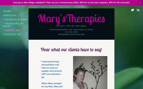 Screenshot of Testimonials Page marystherapies.com - Testimonials — Mary'sTherapies - captured Oct. 29, 2014