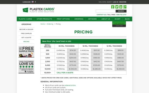 Pricing  |  Plastek Cards | Promotional Plastic Card Printing & Manufacturing
