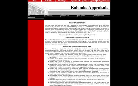 Screenshot of Terms Page eubanksappraisals.com - Terms of Use - captured Nov. 11, 2016