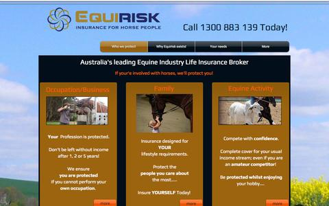 Screenshot of Home Page equirisk.com.au - Equirisk Insurance for Horse People - captured Oct. 1, 2014