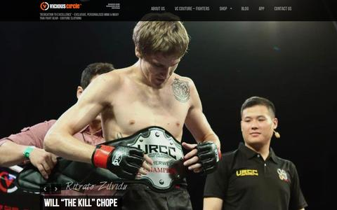 Screenshot of Home Page viciouscirclemma.com - MMA Clothing & Apparel | Vicious Circle Fight Wear | 'Dedication to Excellence' - Exclusive, Personalised MMA & Muay Thai Fight Gear - Couture Clothing - captured Sept. 30, 2014