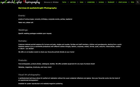 Screenshot of Services Page zenfolio.com - eyeCatchLight Photography | Simone A. Winkler | Services - captured Sept. 12, 2014