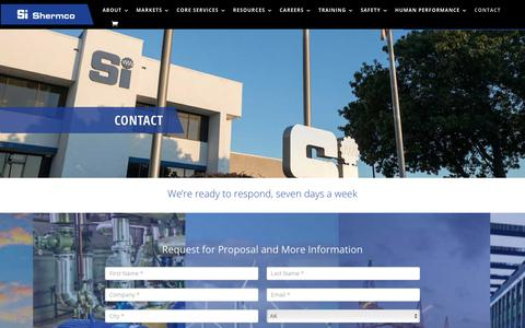 Screenshot of Contact Page shermco.com - Contact - Shermco industries - captured Nov. 9, 2019