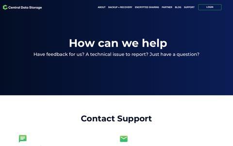 Screenshot of Support Page centraldatastorage.com - support - captured Nov. 18, 2019