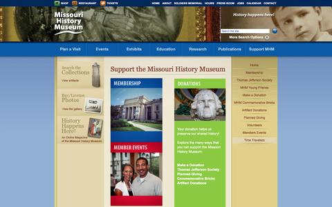 Screenshot of Support Page mohistory.org - Support the Missouri History Museum | Missouri History Museum - captured Sept. 14, 2016