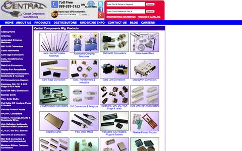 Screenshot of Products Page centralcm.com - Wholesale Electronic Components: Central Components Manufacturing, Middlesex NJ wholesale electronics (Custom Cable Assemblies, Electronic Supplies, quality electronic components, BNC connectors, fiber optic connectors, plcc sockets, card edge connec - captured Oct. 2, 2014