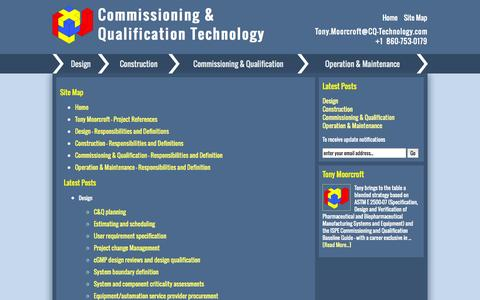 Screenshot of Site Map Page cq-technology.com - Site Map - Commissioning and Qualification Technology - captured Oct. 8, 2014