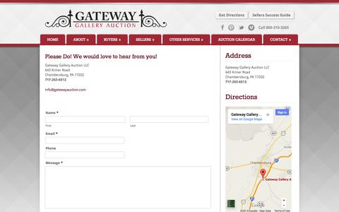 Screenshot of Contact Page gatewayauction.com - Contact Us | Gateway Gallery Auction - captured Oct. 2, 2014