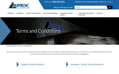 Screenshot of Terms Page apexindustries.com - Terms and Conditions - Apex Industries - captured Nov. 21, 2016