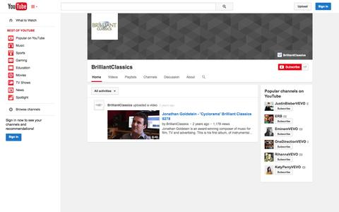 Screenshot of YouTube Page youtube.com - BrilliantClassics  - YouTube - captured Oct. 22, 2014