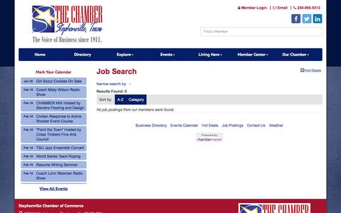 Screenshot of Jobs Page stephenvilletexas.org - Job Search - Stephenville Chamber of Commerce, TX - captured Feb. 18, 2016