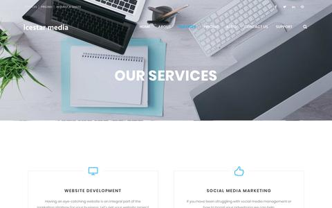 Screenshot of Services Page icestarmedia.com - Our Services: Website development, ecoomerce, database development, social media - captured Oct. 11, 2018