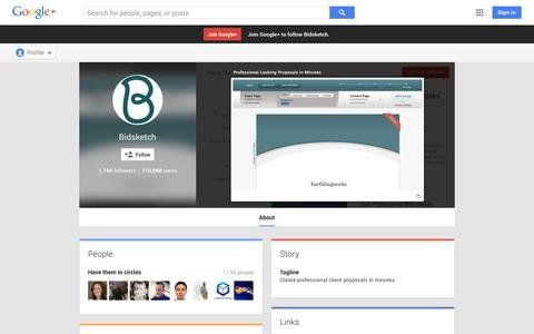 Screenshot of Google Plus Page google.com - Bidsketch - About - Google+ - captured Oct. 29, 2014