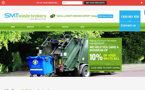 Screenshot of Home Page smtwastebrokers.com.au - Waste Management & Waste Recycling Companies In Sydney - captured Oct. 18, 2015