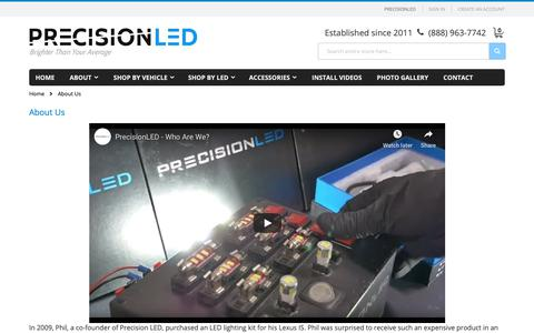 Screenshot of About Page precisionled.com - About Us - captured Nov. 5, 2018
