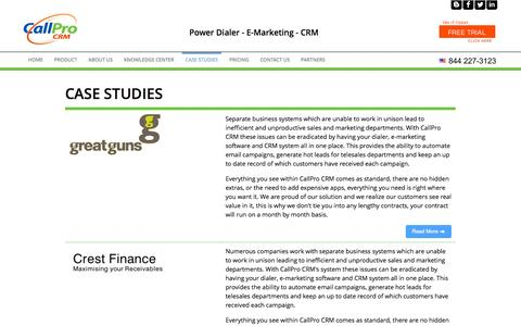 Screenshot of Case Studies Page callprocrm.com - Real life case studies that show how companies have implemented CallPro CRM to great effect - captured Nov. 1, 2014