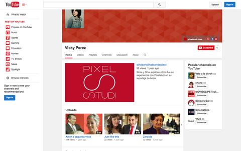 Screenshot of YouTube Page youtube.com - Vicky Perez  - YouTube - captured Oct. 22, 2014