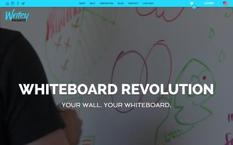 Screenshot of Home Page writeyboards.com - Writeyboard: Stick On Whiteboard & Dry Erase Board Paint For Walls - captured Oct. 29, 2015