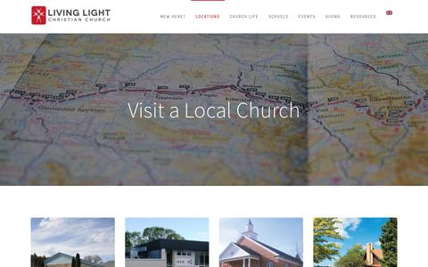 Screenshot of Locations Page livinglightchurch.com - Locations – Living Light Christian Church - captured Aug. 24, 2017