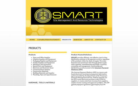 Screenshot of Products Page smartllc.us - Site Management And Resource Technologies (SMART) LLC - PRODUCTS - captured Feb. 16, 2016