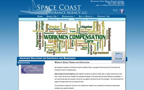 Screenshot of Terms Page spacecoastinsurance.com - Website Usage Terms and Conditions | Space Coast Insurance Agency, LLC | Insurance Solutions for Individuals and Businesses - captured Oct. 23, 2017
