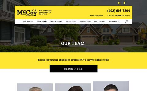 Screenshot of Team Page mccoyroofing.com - Our Team - McCoy Roofing, Siding & Contracting - captured Oct. 24, 2018