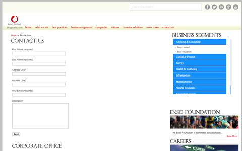 Screenshot of Contact Page ensogroup.com - Enso Group  - Contact Us - captured Sept. 30, 2014