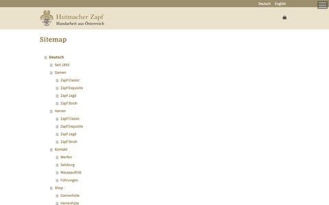 Screenshot of Site Map Page zapf.at - Sitemap - Hutmacher Zapf - captured Sept. 30, 2018