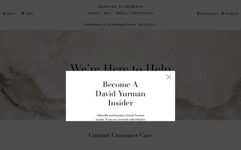 Screenshot of Support Page davidyurman.com - Customer Care Assistance | DAVID YURMAN - captured Sept. 19, 2018